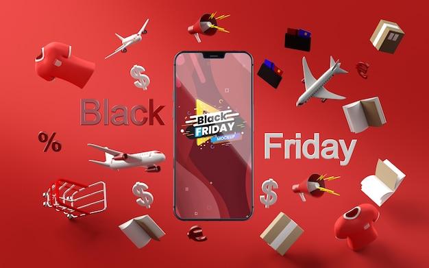 Fondo rojo de maqueta de venta de viernes negro de artículos 3d PSD gratuito