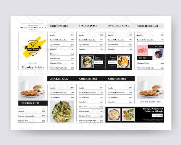 Food board design per ristorante Psd Premium