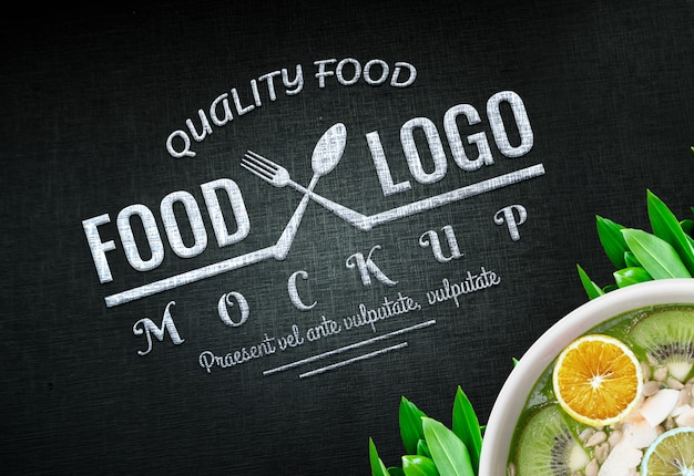 Food logo mockup vegan logo food background food logo design vegan PSD Premium