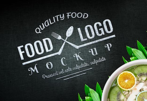 Food logo mockup vegan logo food background food logo design veganistisch Premium Psd