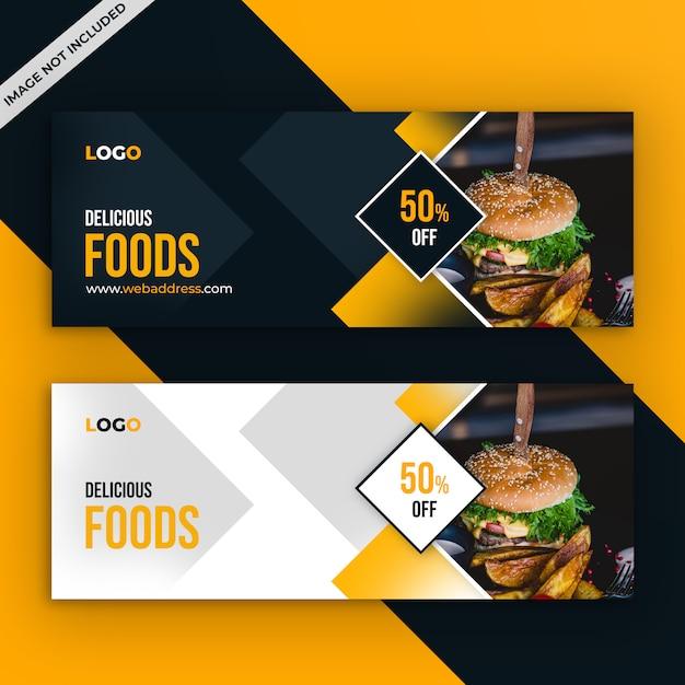 Food restaurant facebook voorbladsjabloon Premium Psd