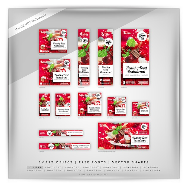 Food & restaurant google-bannerset Premium Psd