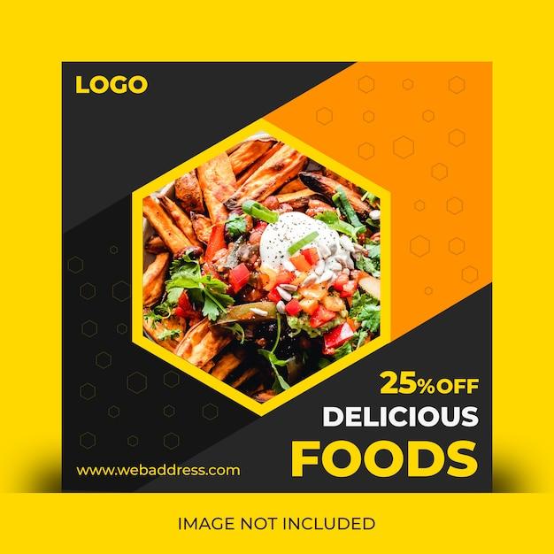 Foods sociale media berichtensjabloon Premium Psd