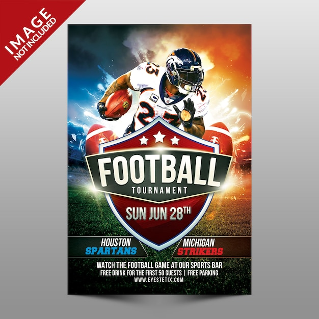 Football tournament flyer Premium Psd
