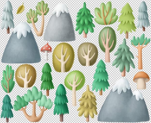 Forest clipart-collectie Premium Psd