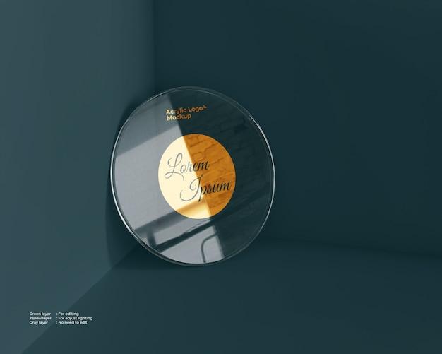 Forma di cerchio mockup logo in vetro acrilico Psd Premium