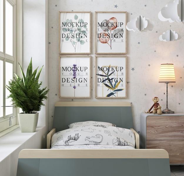 Fotolijsten op muur in moderne en wahite kinderkamer Premium Psd