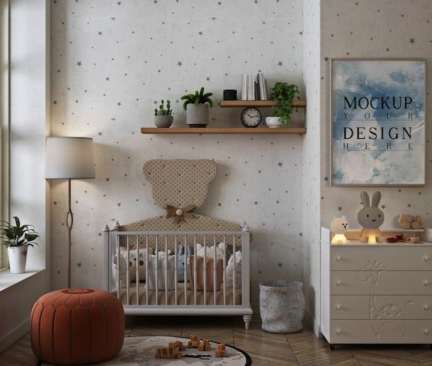 Fotolijstmodel in moderne klassieke babyslaapkamer Premium Psd