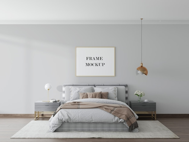 Fotolijstmodel in moderne slaapkamer in 3d-rendering Premium Psd