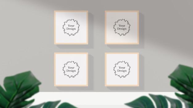 Fotolijstmodel met schaduw op de muur Premium Psd