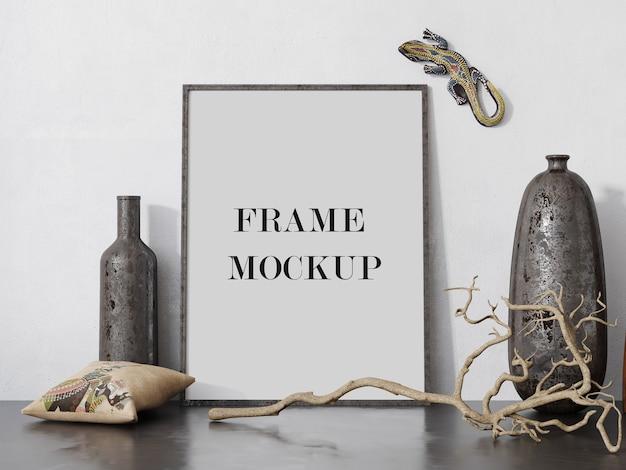 Fotolijstmodel naast oude vazen Premium Psd