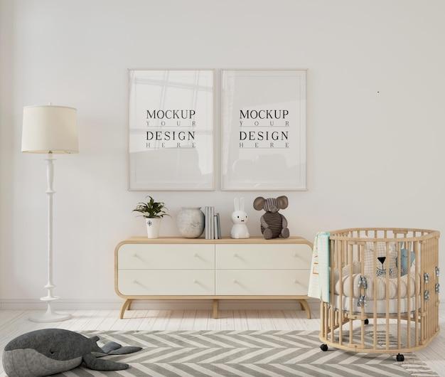 Fotolijstmodellen in moderne kinderkamer Premium Psd