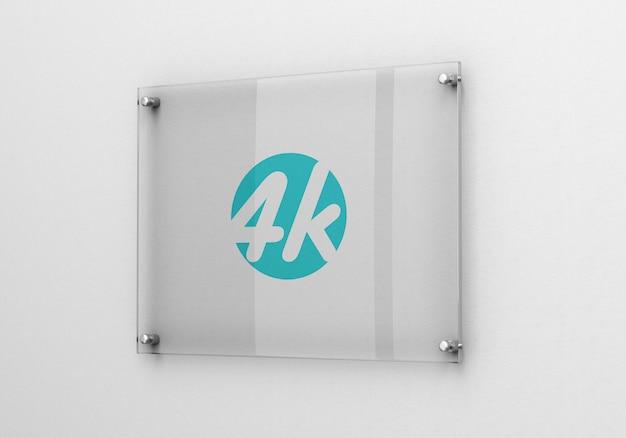 Fotorealistische glass signage logo mockup Premium Psd
