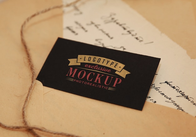 Fotorealistische logotypemodel in vintage stijl Premium Psd