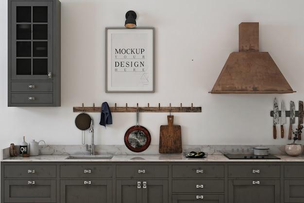 Frame fotomodel in grijze minimalistische keuken Premium Psd
