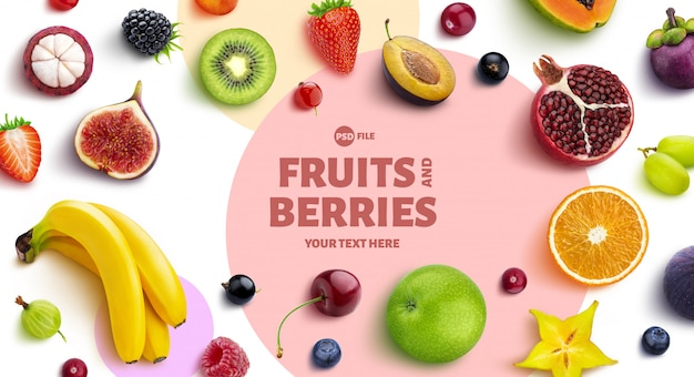 Frame gemaakt van fruit en bessen, bovenaanzicht, platliggend Premium Psd