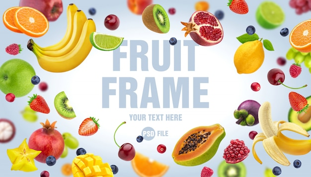 Frame gemaakt van fruit en bessen geïsoleerd op een witte achtergrond Premium Psd