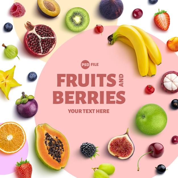 Frame gemaakt van fruit en bessen Premium Psd