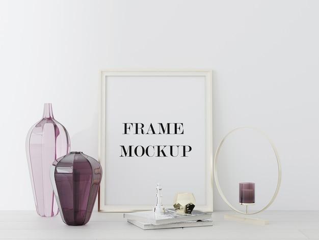 Frame leunend tegen muur naast vazen in 3d-rendering Premium Psd