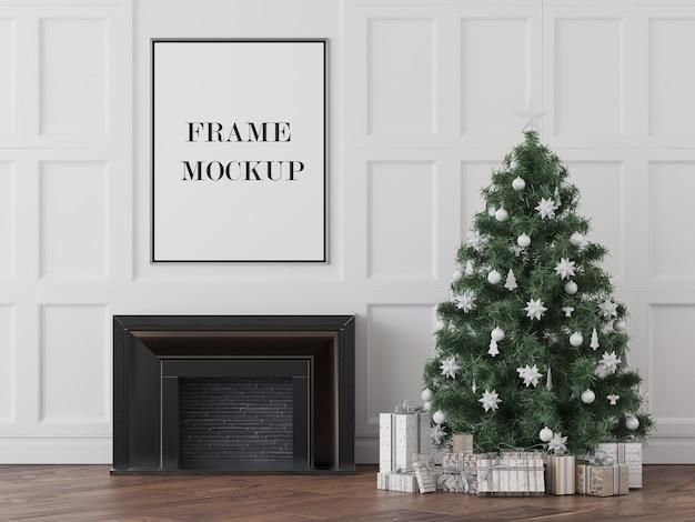 Frame mockup boven open haard oudejaarsavond Premium Psd
