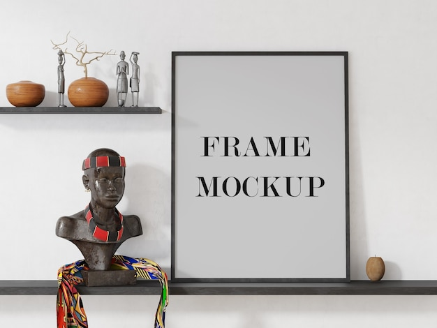 Frame mockup in afrocentric interieur Premium Psd