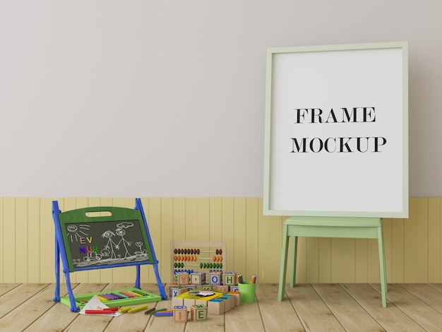 Frame mockup in kinderkamer met speelgoed Premium Psd