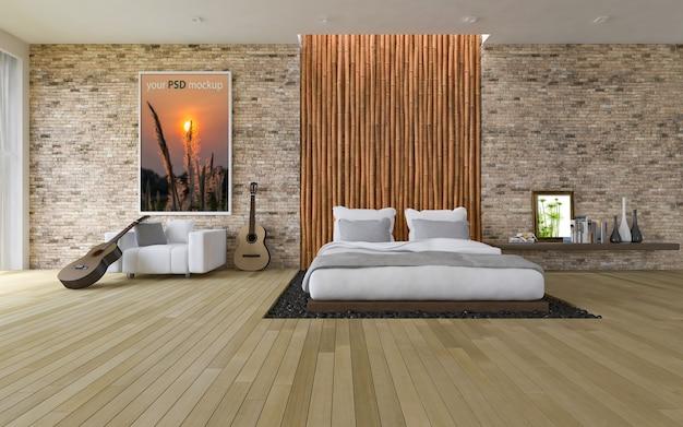 Frame mockup in moderne slaapkamer Premium Psd