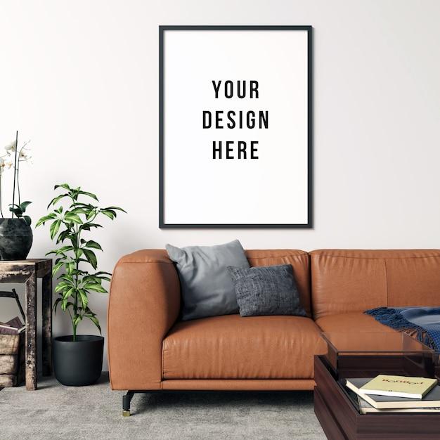 Frame mockup living room interior con decorazioni Psd Premium