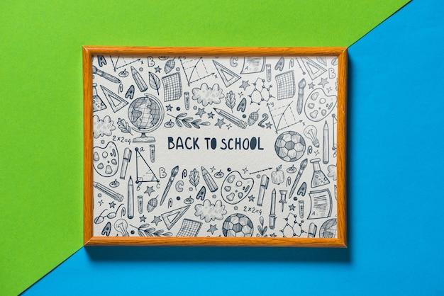 Frame mockup met terug naar school concept Gratis Psd