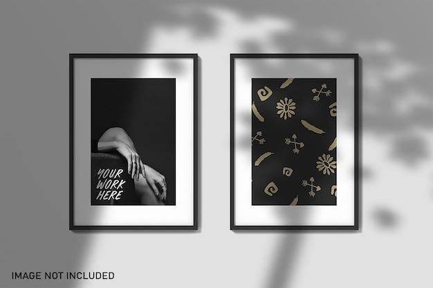 Frame-mockups met schaduw-overlay Premium Psd