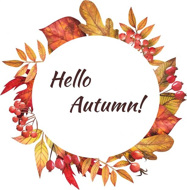 Frame van de herfstbladeren geschilderd door waterverf Premium Psd