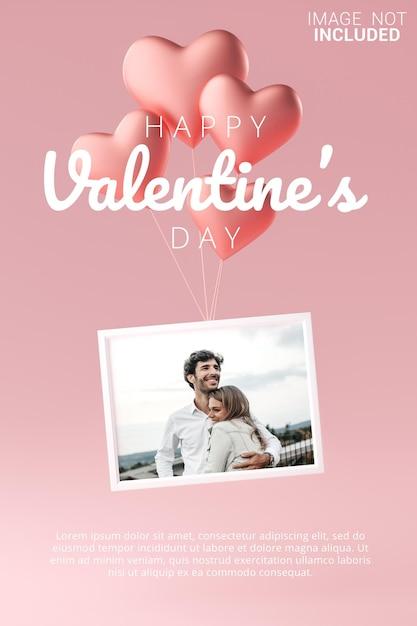 Frame vliegen met liefde hart ballon mockup sjabloon happy valentine poster Premium Psd