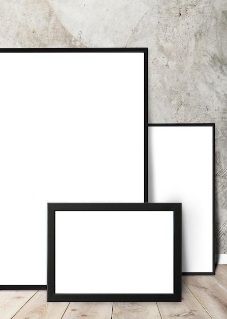 Frames leunend tegen een muur Premium Psd