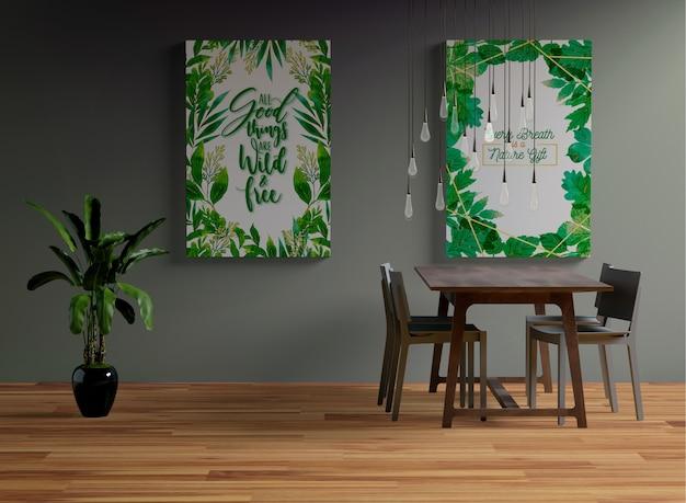 Frames mock-up opknoping aan de muur in de eetkamer Gratis Psd