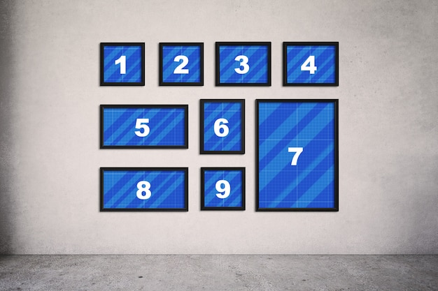 Frames op muurmodel Premium Psd