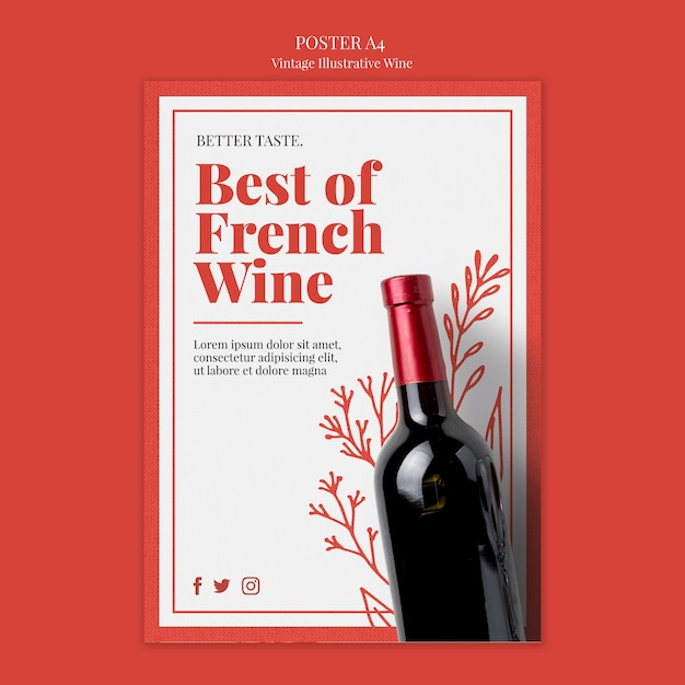 Frans wijn posterontwerp Gratis Psd