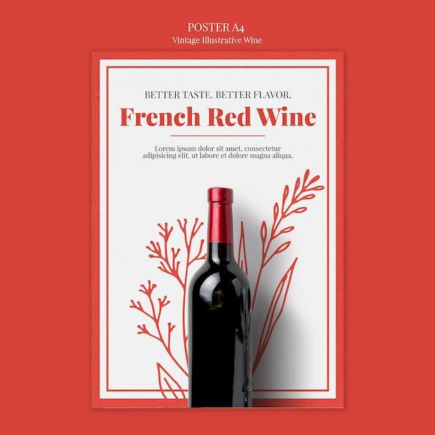 Franse wijn poster sjabloon Gratis Psd