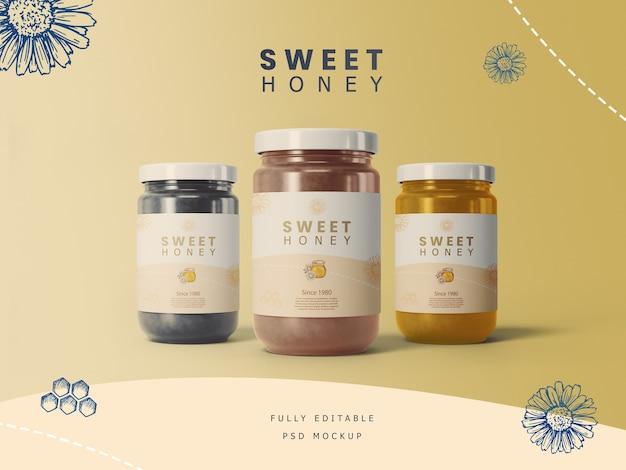 Frascos de miel con maqueta de etiqueta PSD Premium