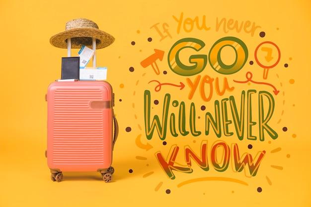 Frase di lettering motivazionale per le vacanze che viaggiano concetto Psd Gratuite