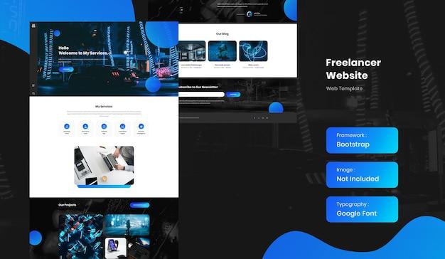 Freelancer en hervat portfolio-websitesjabloon Premium Psd