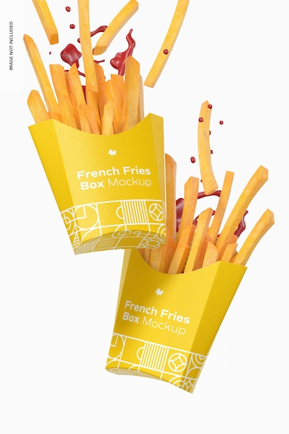 French fries box mockup, falling Premium Psd