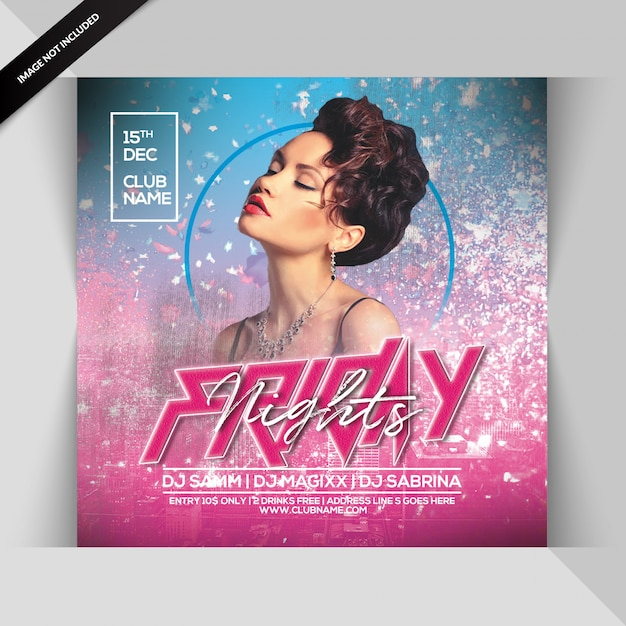 Friday night party flyer Premium Psd