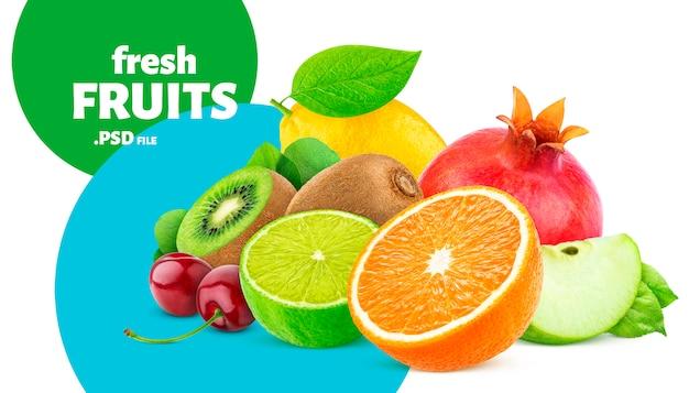 Fruit en bessen collectie banner Premium Psd