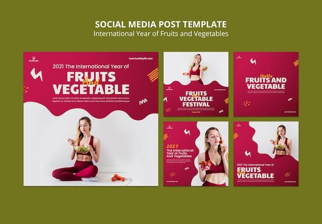 Fruit en groenten jaar posts op sociale media Gratis Psd