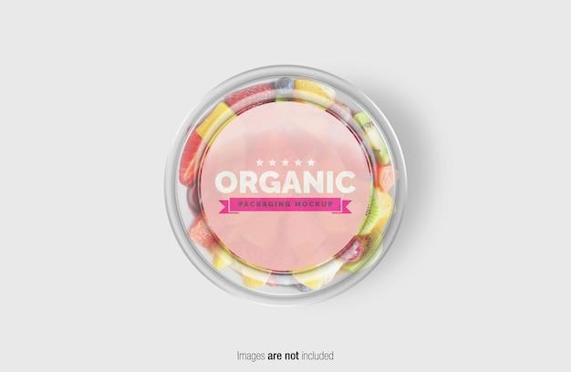 Fruitsalade box mockup met sticker Premium Psd