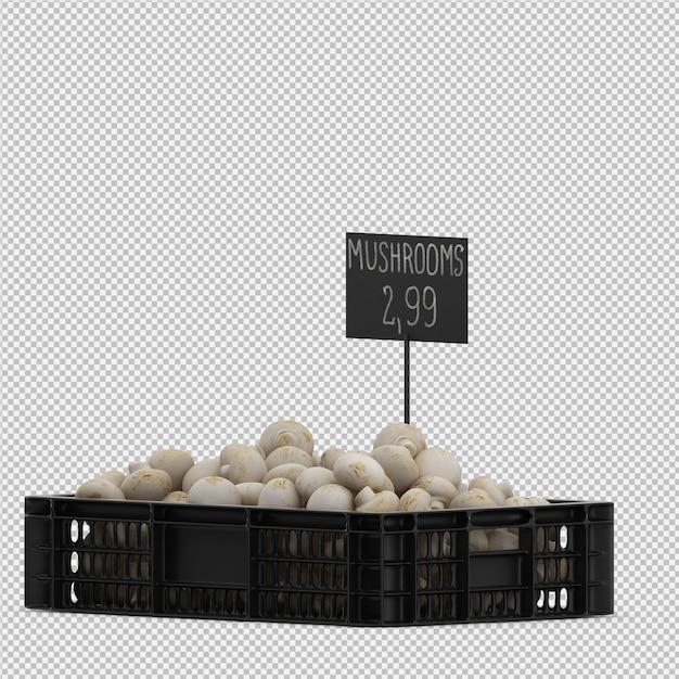 Funghi isometrici in un cestino Psd Premium