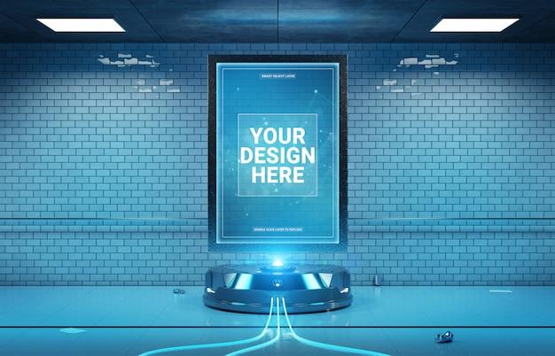 Futuristisch aanplakbord in het vuile ondergrondse model van het metrostation Premium Psd