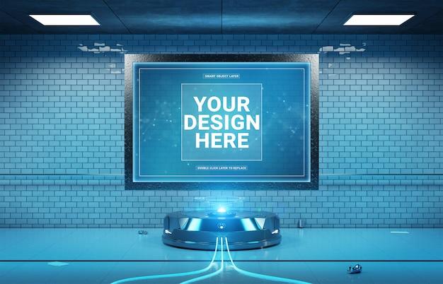 Futuristisch aanplakbord in ondergronds tunnelmodel Premium Psd