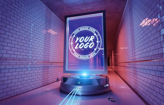 Futuristisch billboard intunnel metrostation mockup Premium Psd