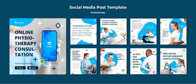 Fysiotherapie concept sociale media post sjabloon Gratis Psd